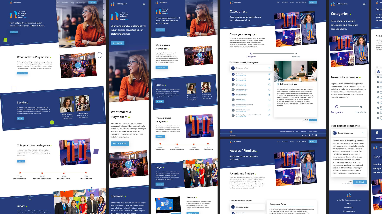 Some mockups of the Technology Playmaker Awards 2019 website redesign