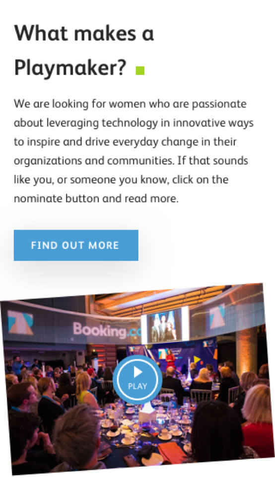 Home of the Technology Playmaker Awards 2019 website - on mobile