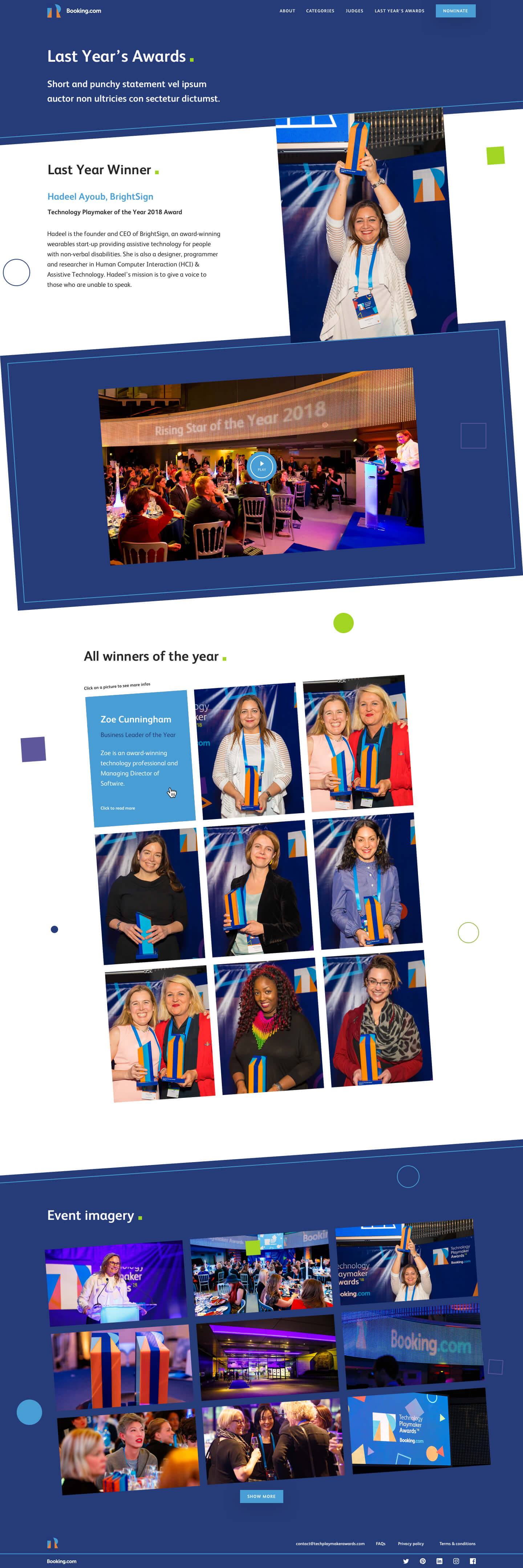 Last year page of the Technology Playmaker Awards 2019 website