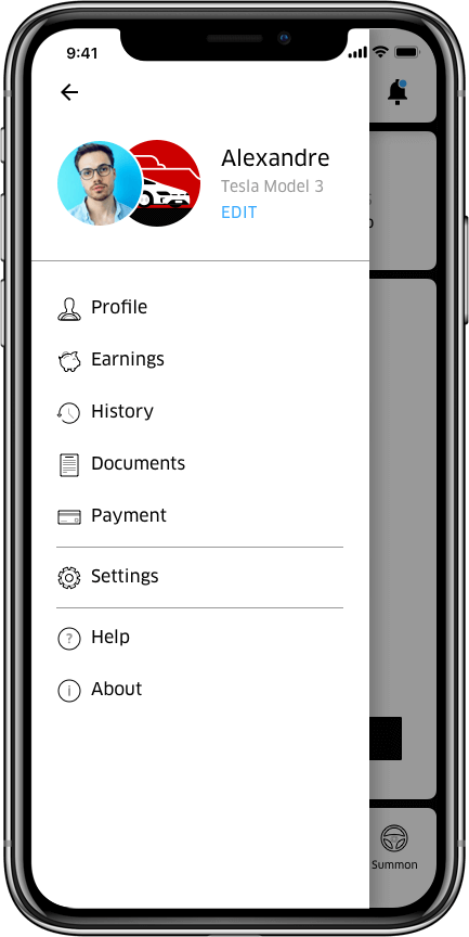 Tesla-mobile-menu